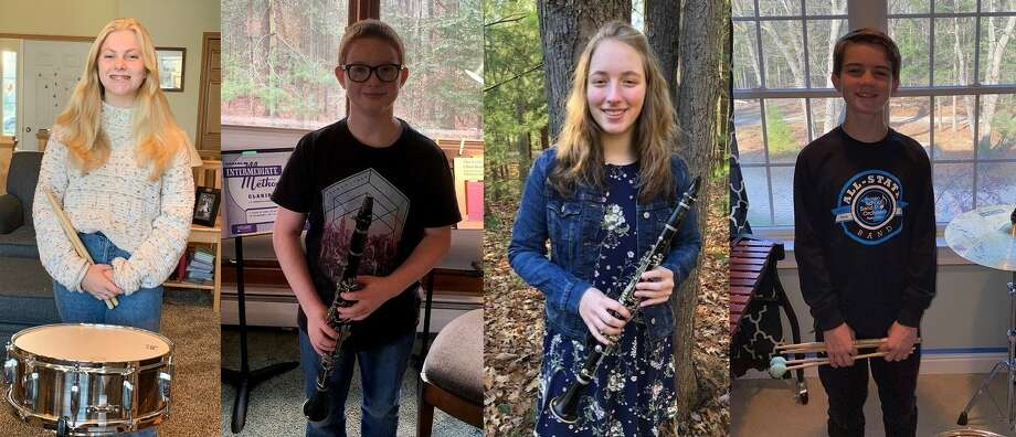 Manistee Area Public Schools band students Sarah Huber (left), Christian Erlandson, Emily Sullivan and Jack O'Donnell earned All-State honors from the Michigan School Band and Orchestra Association. Photo: Courtesy Photo