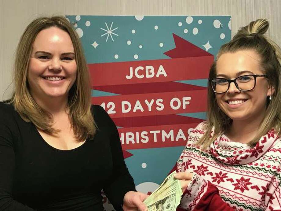 Jersey County Business Association Director Beth Bear is pictured with last year's 12 Days of Christmas winner Ciera Miles. This year's event kicks off Monday, Nov. 30.