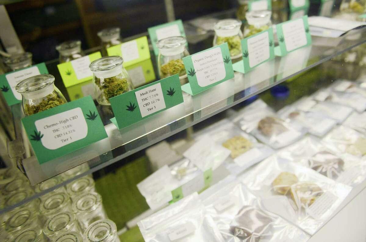 Various marijuana strains and 'medibles' on display at a medical marijuana dispensary in Portsmouth, R.I.