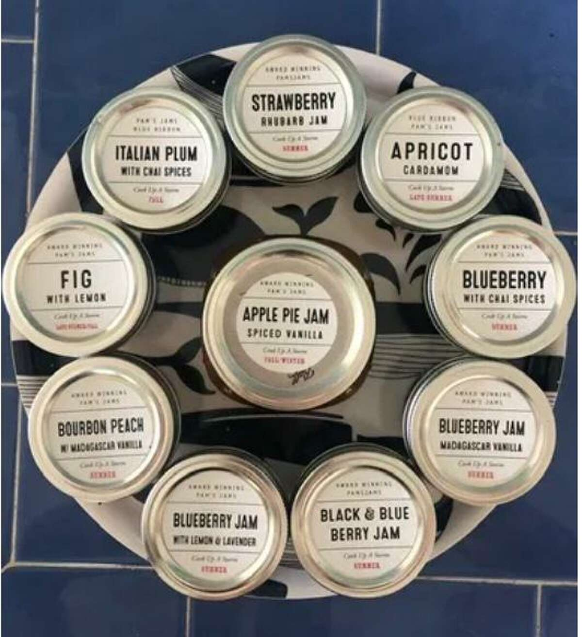 A variety of fresh jams and jellies by Pam's Jams will be on sale at the Holiday Market at Cannon Grange in Wilton on Saturday, Dec. 5 from 10 to 4.