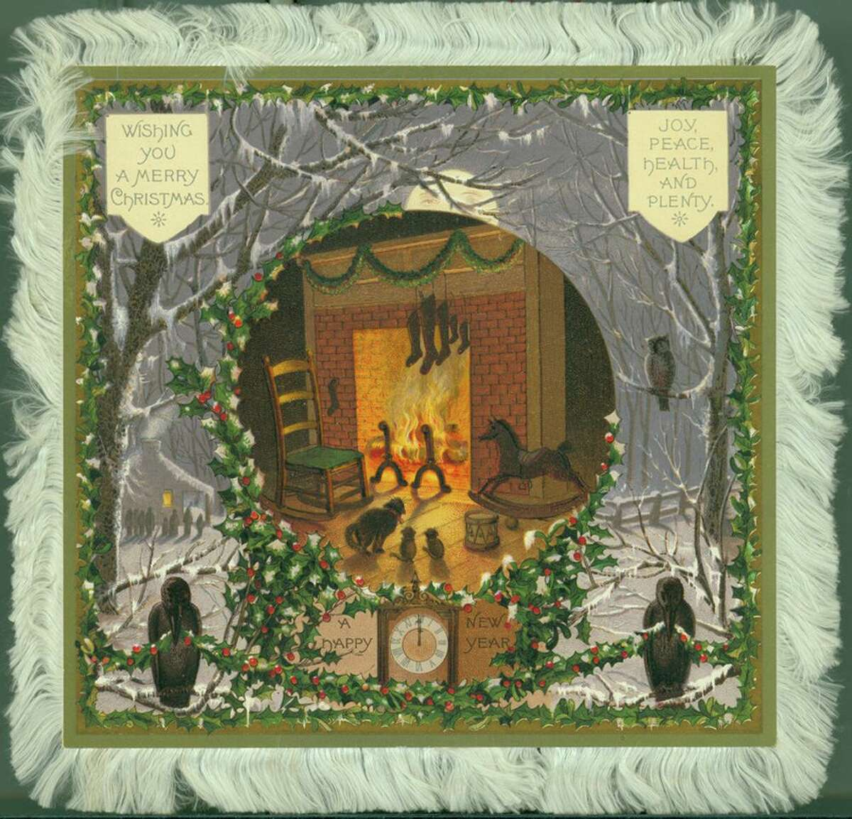 A vintage Christmas postcard with fabric fringe