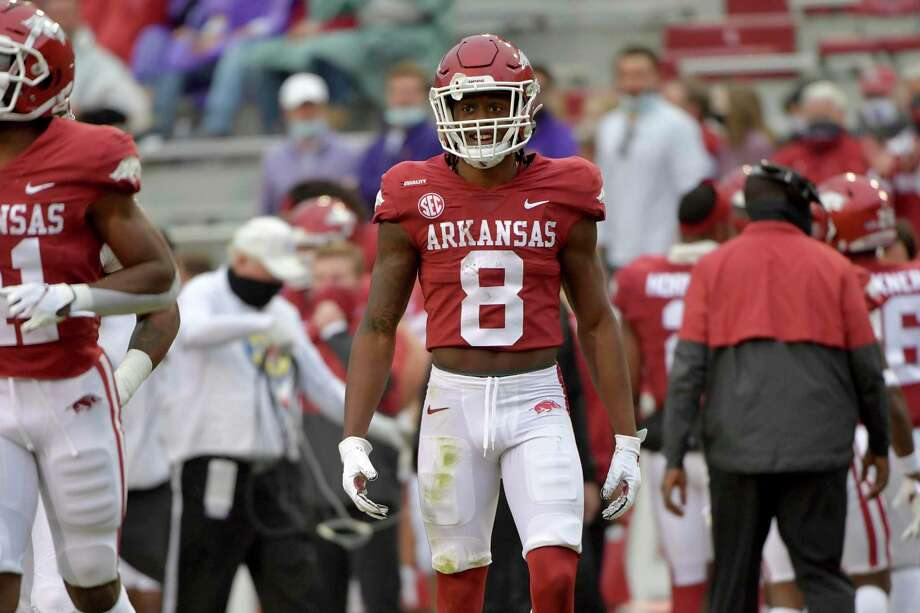 Arkansas receiver Mike Woods against LSU during an NCAA college football game Saturday, Nov. 21, 2020, in Fayetteville, Ark. (AP Photo/Michael Woods) Photo: Michael Woods, FRE / Associated Press / Copyright 2020 The Associated Press. All rights reserved.