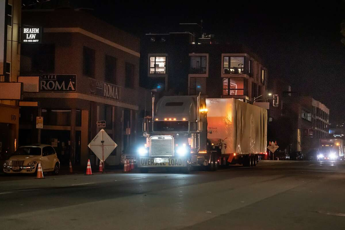 Modular housing boxes arrive in San Francisco from Vallejo.