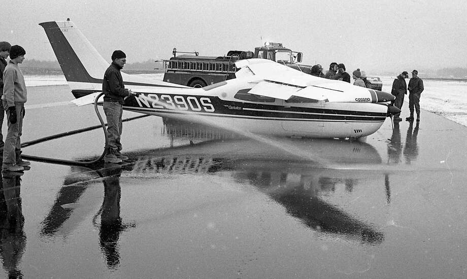 "From the Nov. 28, 1980 issue of News Advocate, ""Four persons from downstate had a rough landing this morning at Manistee Blacker Airport.""More details on this entry can be found in the 40 YEARS AGO section of Looking Back. (Manistee County Historical Museum photo)"