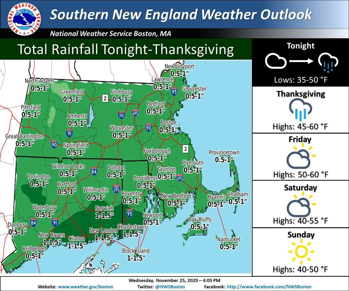 More than an inch of rain is forecast for parts of Connecticut on Thanksgiving, according to the National Weather Service.