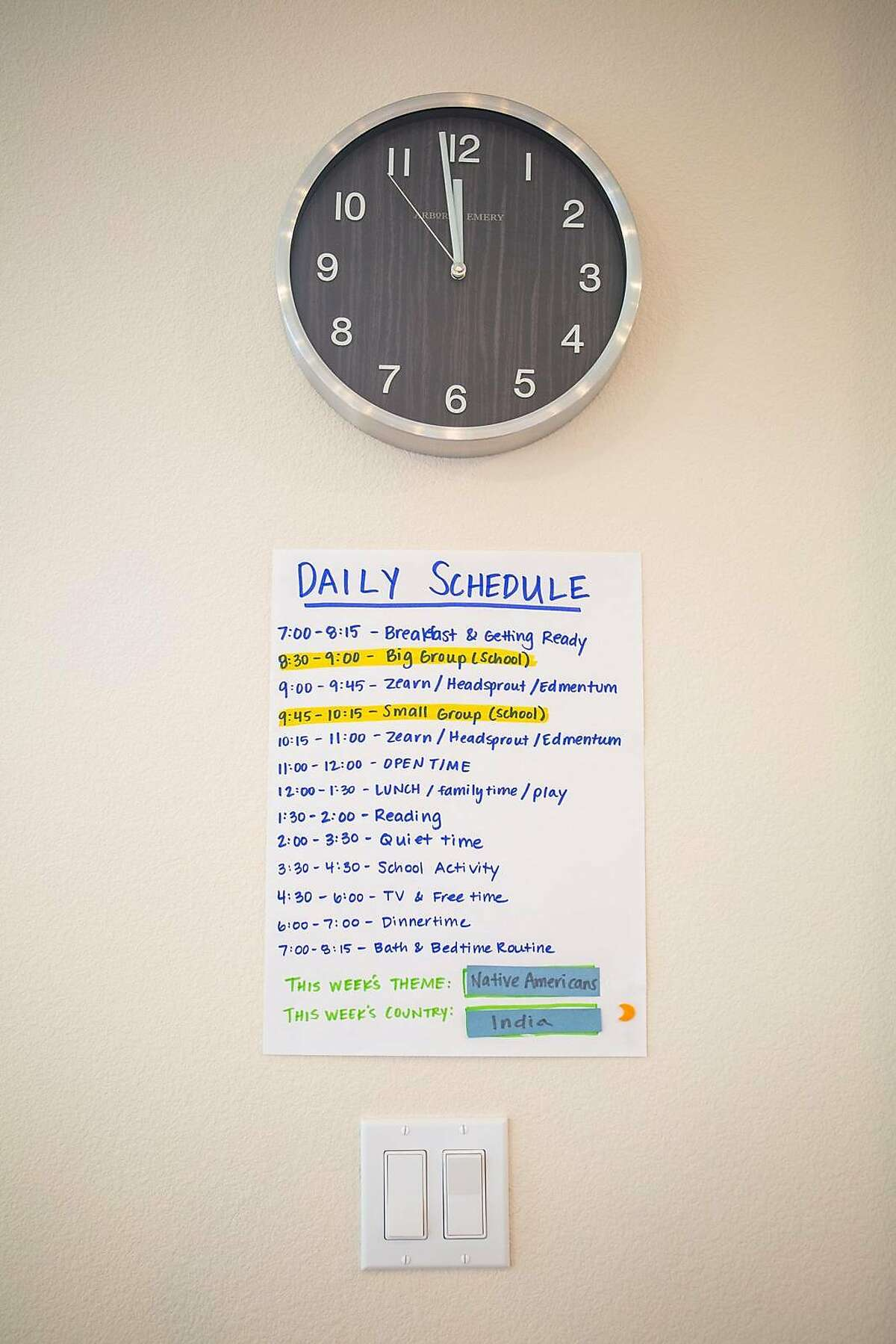Heather Dundon, Henry's mother, added his daily schedule to their wall to add structure to his online kindergarten experience.