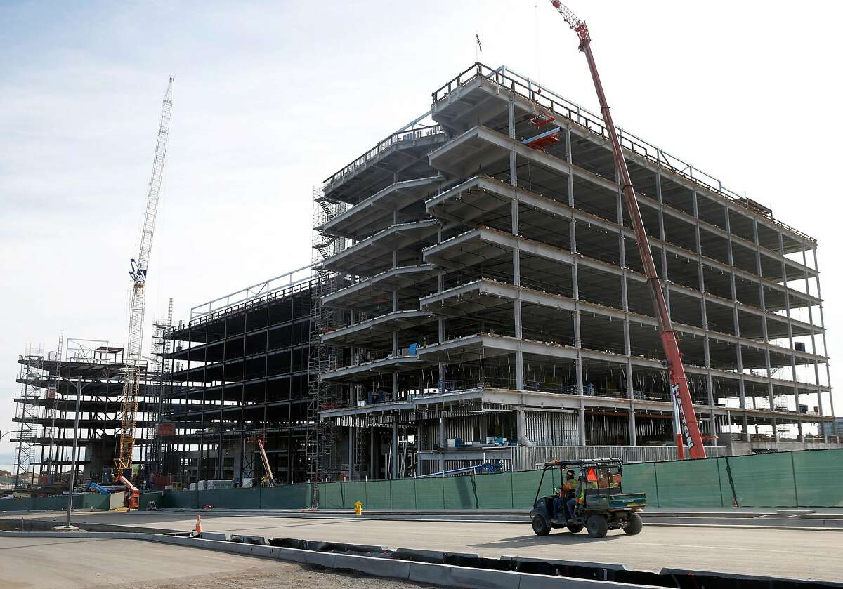 Buildings are under construction for the Kilroy Oyster Point project in South San Francisco, Calif. on Saturday, Nov. 21, 2020. South City is the epicenter of the biotech industry.