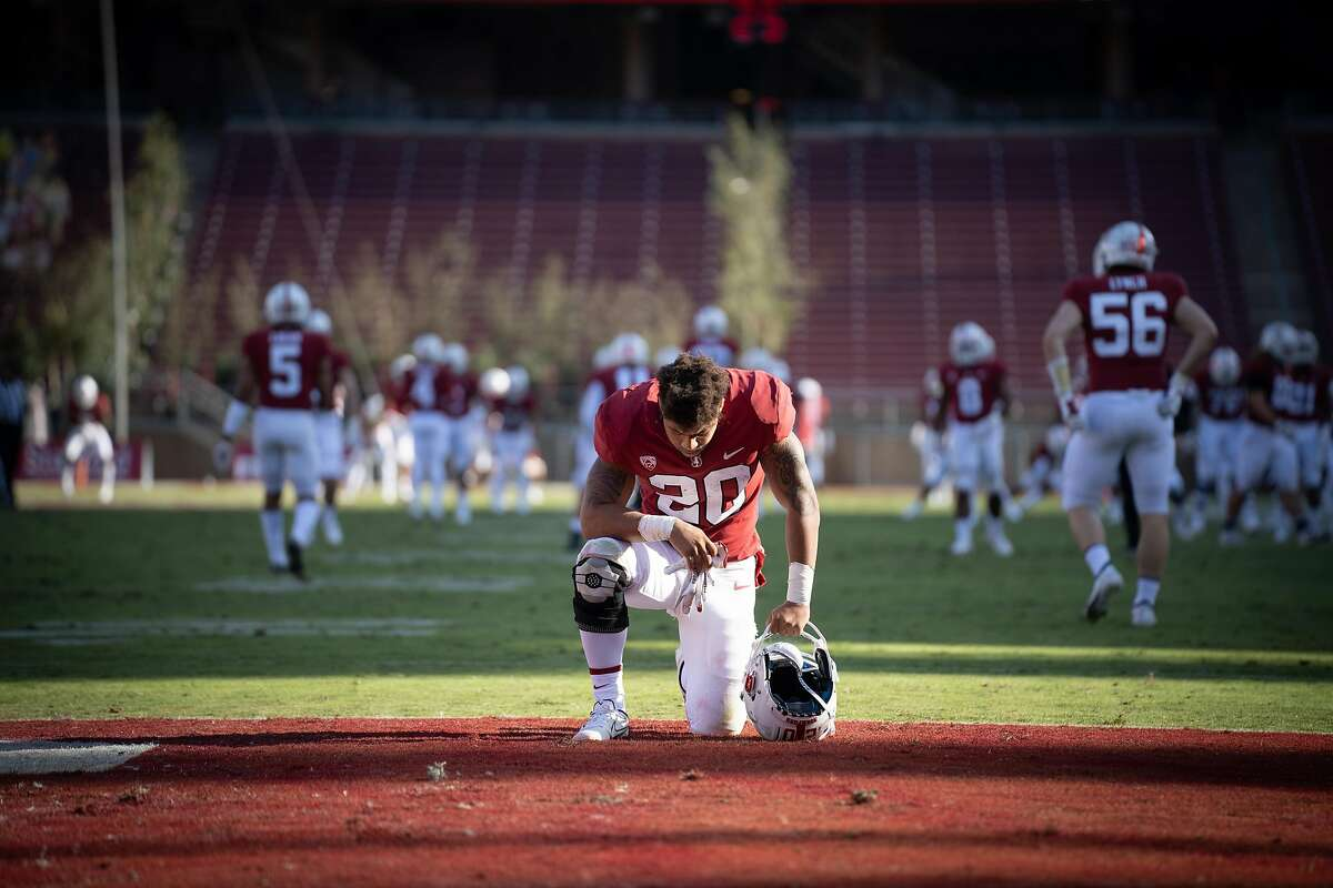 STANFORD, CA - NOVEMBER 14: Austin Jones #20 of the Stanford Cardinal during a game between University of Colorado and Stanford Football at Stanford Stadium on November 14, 2020 in Stanford, California.