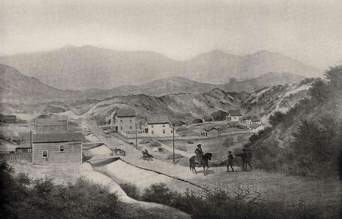 An etching from 1856 of Mission Plank Road looking southwest from Ninth Street in San Francisco. Tolls on the road ranged from 25 cents to $1.