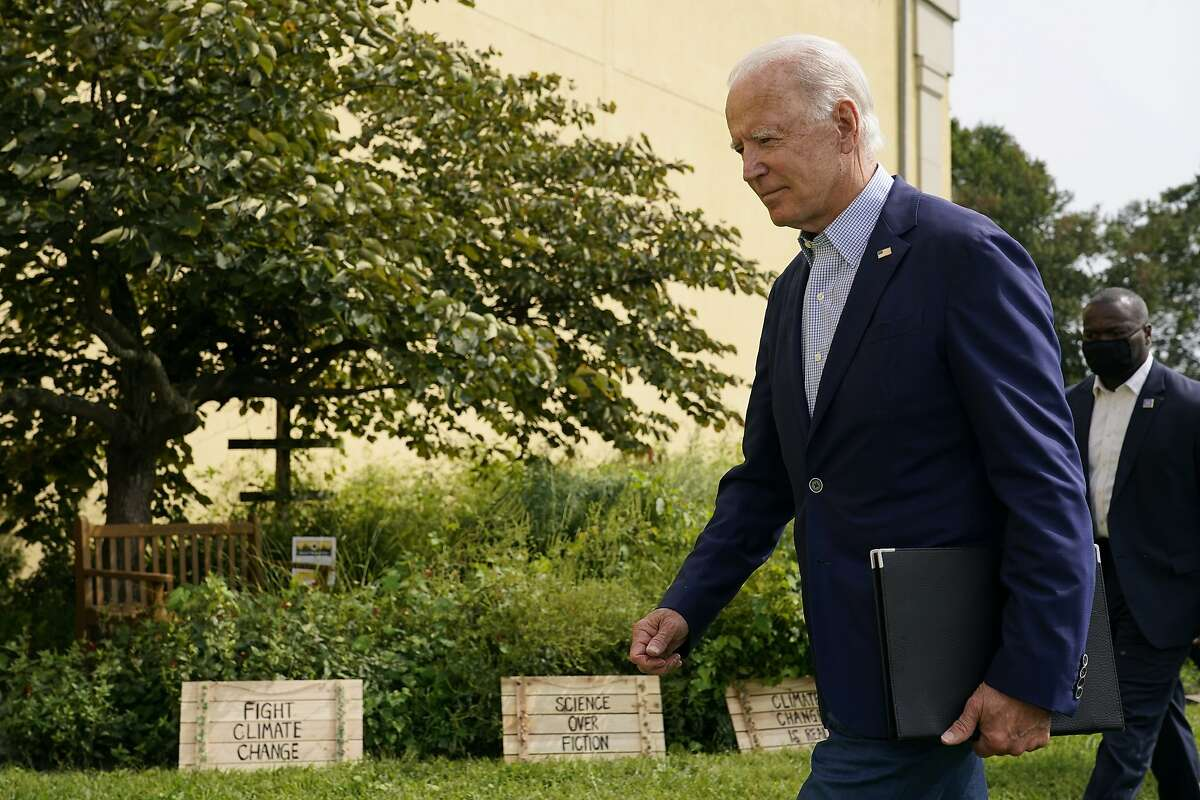 Then-Democratic presidential candidate Joe Biden departs after speaking in Wilmington, Del., on Sept. 14. Biden remarked on the ongoing wildfires and the urgent need to address the climate crisis.