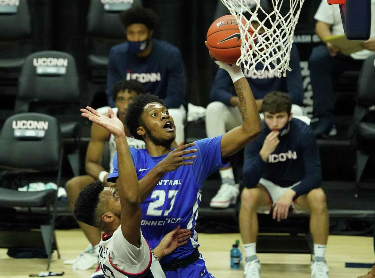 Nov 25, 2020; Storrs, CT, USA; Central Connecticut State Blue Devils forward Karrington Wallace (23) drives to the basket against the Connecticut Huskies in the first half at Gampel Pavilion. Mandatory Credit: David Butler II-USA TODAY Sports