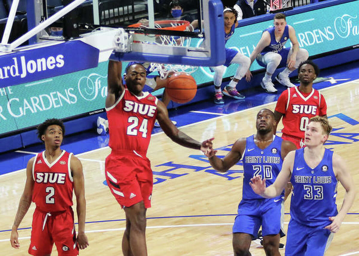 SIUE's Cam Williams (24) goes in for a dunk off the break on Wednesday night at Chaifetz Arena in St. Louis.