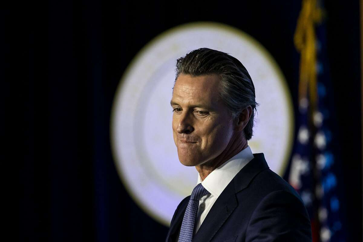 In this file photo, Gov. Gavin Newsom speaks after being sworn in as the 40th governor of California in front of the Capitol in Sacramento. (Kent Nishimura/Los Angeles Times/TNS)