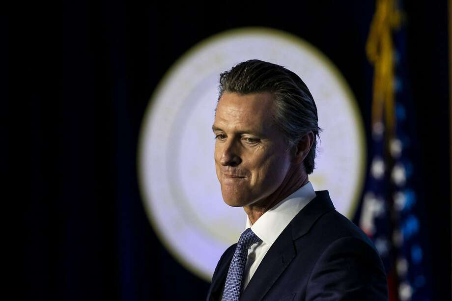 In this file photo, Gov. Gavin Newsom speaks after being sworn in as the 40th governor of California in front of the Capitol in Sacramento. Photo: Kent Nishimura / Los Angeles Times 2019