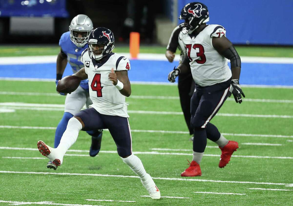 Deshaun Watson made plays with his arm and his feet to help the Texans win consecutive games for the first time this season.