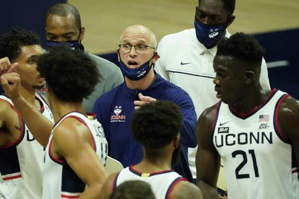 UConn coach Dan Hurley speaks to his team during a timeout against Central Connecticut on Wednesday night in Storrs.