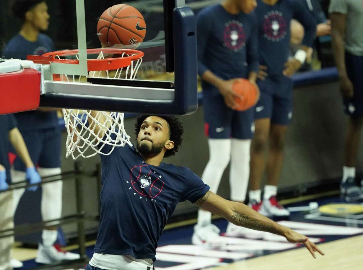 UConn guard Jalen Gaffney warms up before Wednesday's game against Central Connecticut in Storrs.