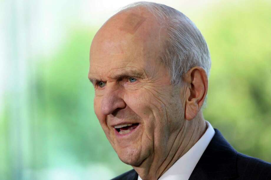 In this April 19, 2019, file photo, the Church of Jesus Christ of Latter-day Saints President Russell M. Nelson speaks during a news conference at the Temple Square South Visitors Center in Salt Lake City. Nelson called on members Friday, Nov. 20, 2020, to flood social media over Thanksgiving week with messages of gratitude in what he hopes will serve as a healing tool as the world grapples with the coronavirus pandemic, racism and a lack of civility. (AP Photo/Rick Bowmer, File) / Copyright 2019 The Associated Press. All rights reserved