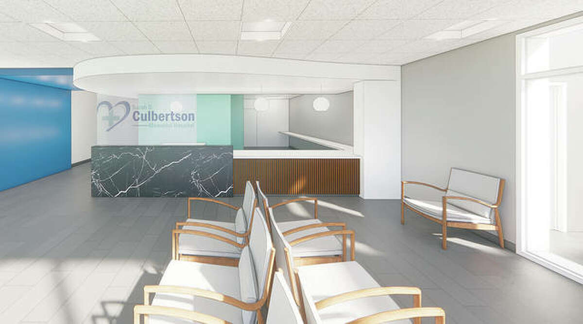 An artist's rendering shows plans for a renovation and expansion of Sarah D. Culbertson Memorial Hospital's waiting and reception area.