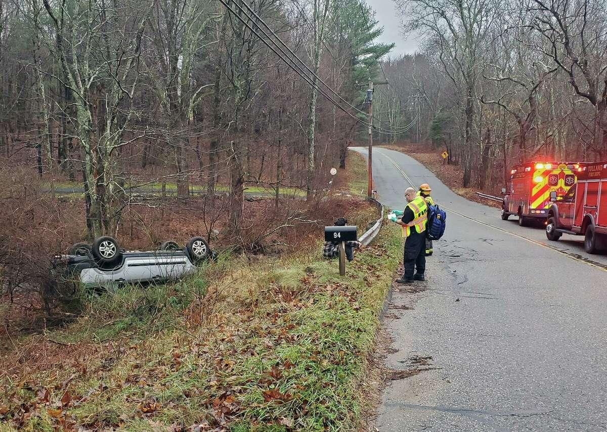 A crash on Goose Lane in Tolland, Conn., on Friday, Nov. 27, 2020.