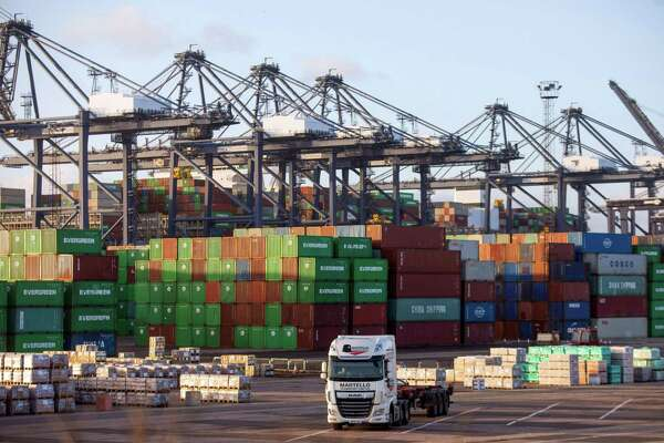 A truck on the dockside at the major British port of Felixstowe, England.