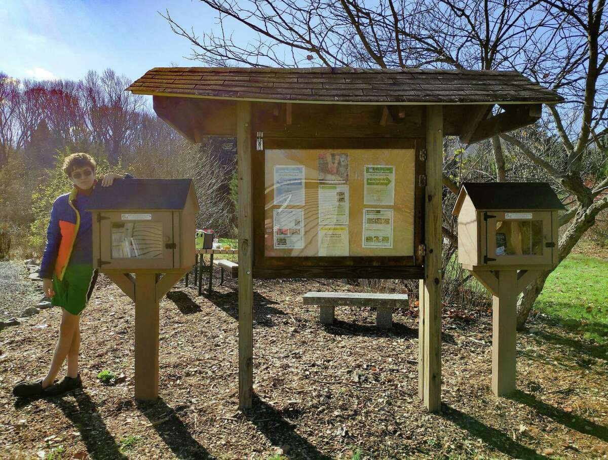 Julian Zeppetello, 16, recently built and installed two Little Free Libraries at the Trumbull Nature and Arts Center as part of his Eagle Scout project. With the help of other Troop 62 members, the work was completed in about 100 hours.