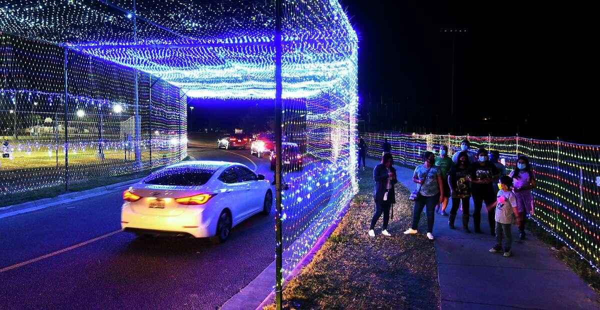 Laredoans enjoy the Holly Jolly Holiday Lights display on Thursday, Nov. 26 at Independence Hills Regional Park.