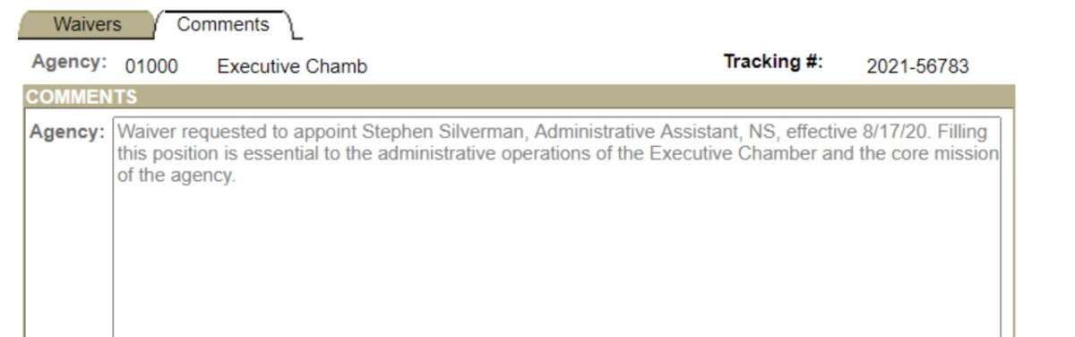 The waiver request to appoint Stephen Silverman to an administrative assistant position in Gov. Andrew M. Cuomo's office.