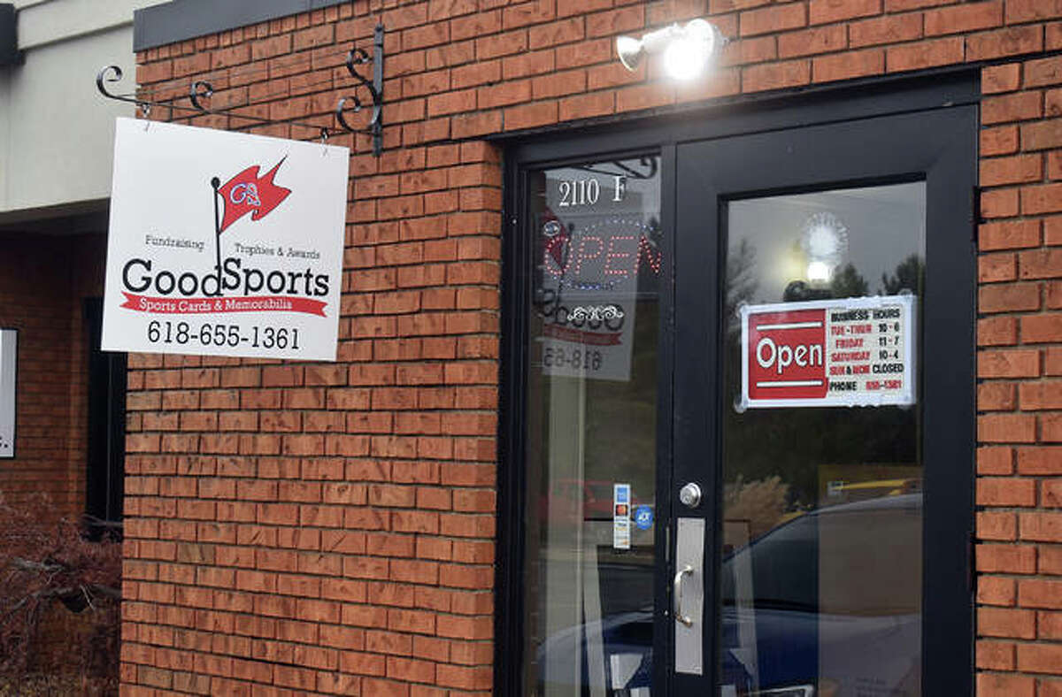 The entrance to GoodSports Sports Cards and Memorabilia at its new location at 2110 Troy Road, Suite F in Edwardsville.
