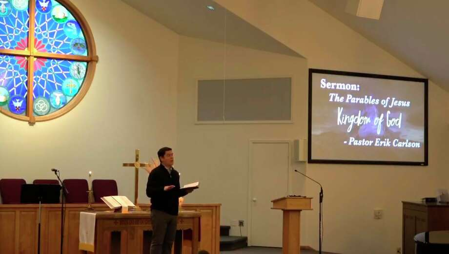Pastor Erik Carlson delivers a sermon on Nov. 15 at Faith Covenant Church in Manistee. The church reports that two in attendance that Sunday later tested positive for coronavirus. (Screenshot/Faith Covenant Church Facebook livestream)