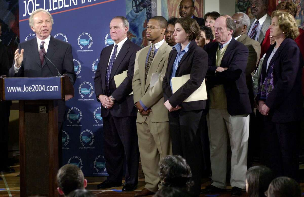 U.S. Sen. Joe Lieberman announces his candidacy for president of the United States as former and current Stamford High School students, including Bob Kennedy (second from right) look on at the school in January 2003.