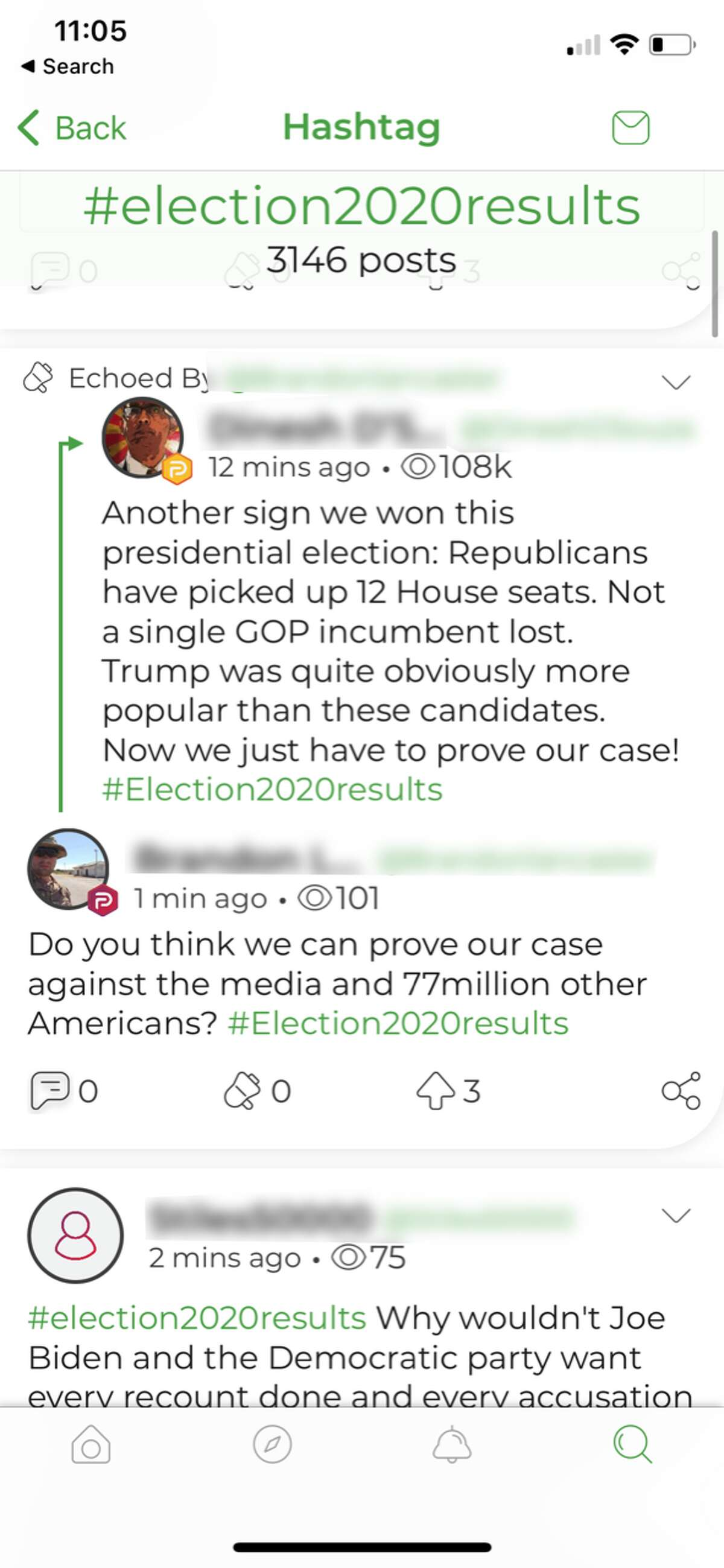 A screenshot showing some of the discourse that is common on Parler, a new social media app aimed at conservative users disillusioned with Facebook and Twitter.