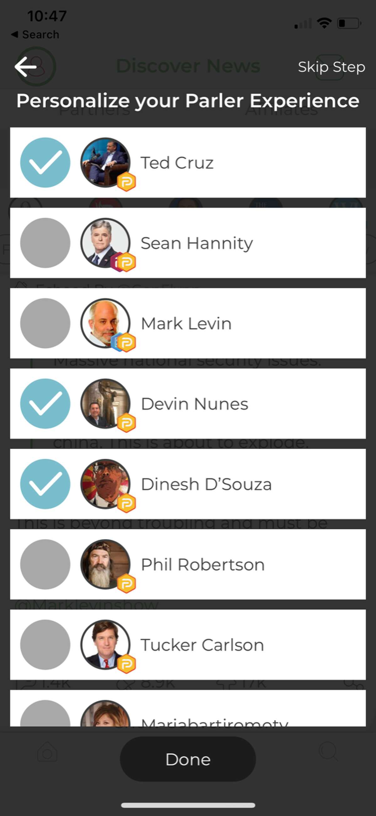 A list of suggested figures to follow on Parler, a new social media app aimed at conservative users disillusioned with Facebook and Twitter.