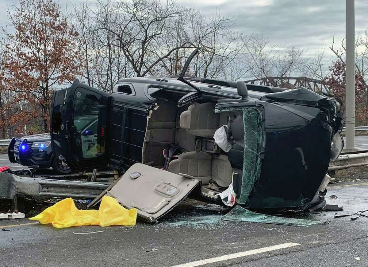 One of the vehicles involved in a crash on Route 9 south near Exit 16 in Middletown, Conn., on Friday, Nov. 27, 2020.