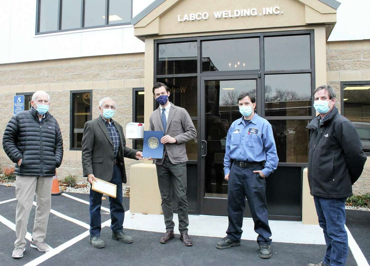 LABCO Welding celebrated its 50th anniversary Nov. 17. Shown, from left, are Middlesex County Chamber of Commerce President Larry McHugh, LABCO founder and CFO Vincent LaBella, Middletown Mayor Ben Florsheim, LABCO President Mike LaBella, and Kronenberger & Sons Restoration Owner Brian Kronenberger.
