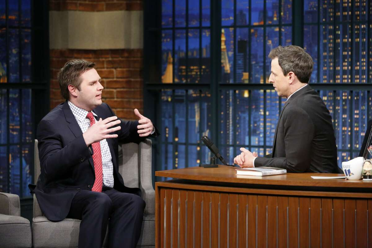 Pictured: (l-r) Author J.D. Vance during an interview with host Seth Meyers on March 15, 2017. In February of 2017, Vance gave a speech in New Haven about his book. President Donald Trump had just entered office, and many saw Vance's book as a look into the heartland, which had become a topic of political conversation. Vance spoke about people in the