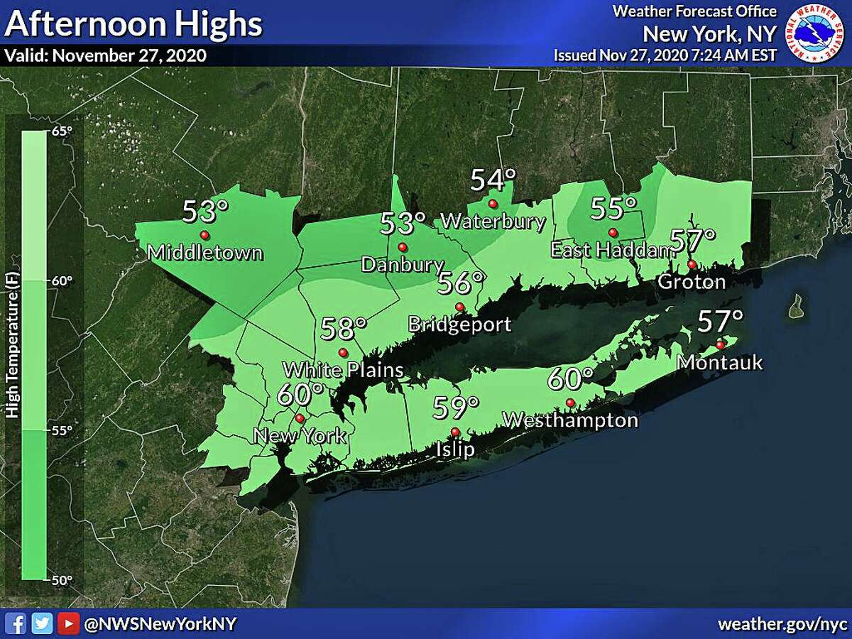 Warmer than average temperatures and dry conditions are expected throughout the Thanksgiving holiday weekend, the National Weather Service says. Saturday will be mostly cloudy, then gradually becoming sunny, with daytime high temperatures in the 50s. After a cold Saturday night with lows in the 30s, sunshine will return on Sunday with temperatures rising in the 50s.