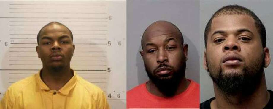 (Left to right) George Lacey, 25, Demandrell Davis, 40, and Adisa Smith, 27, all of Belleville, are all charged in the home invasion and shooting of 23-year-old Darian A. Woods. Photo: Courtesy Of Major Case Squad