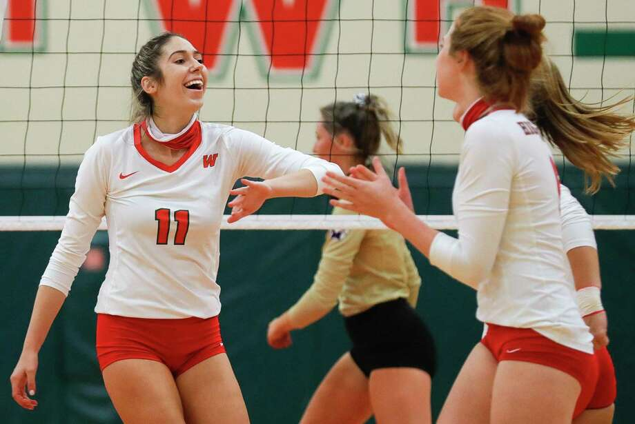 The Woodlands' Natasha Zorbas reacts after scoring a point during the third set of a non-district high school volleyball match at The Woodlands High School, Friday, Sept. 18, 2020, in The Woodlands. Photo: Jason Fochtman, Houston Chronicle / Staff Photographer / 2020 © Houston Chronicle