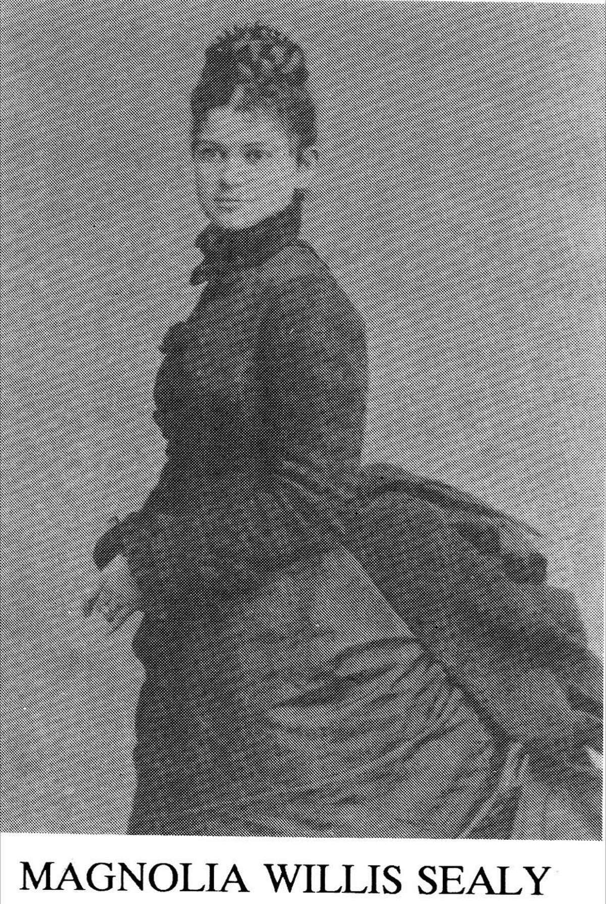 Magnolia Willis Sealy is pictured. In 1875 Magnolia Willis Sealy married George Sealy. George and his brother John Sealy were wealthy Galveston businessmen with extensive interests in cotton, banking, and railroads. It is generally believed that the Magnolia Petroleum Company, owned by John's son John Hutchings Sealy, was named for his aunt Magnolia Willis Sealy. That company would later merge into the Mobil Oil Corporation, and today it is Exxon-Mobil.