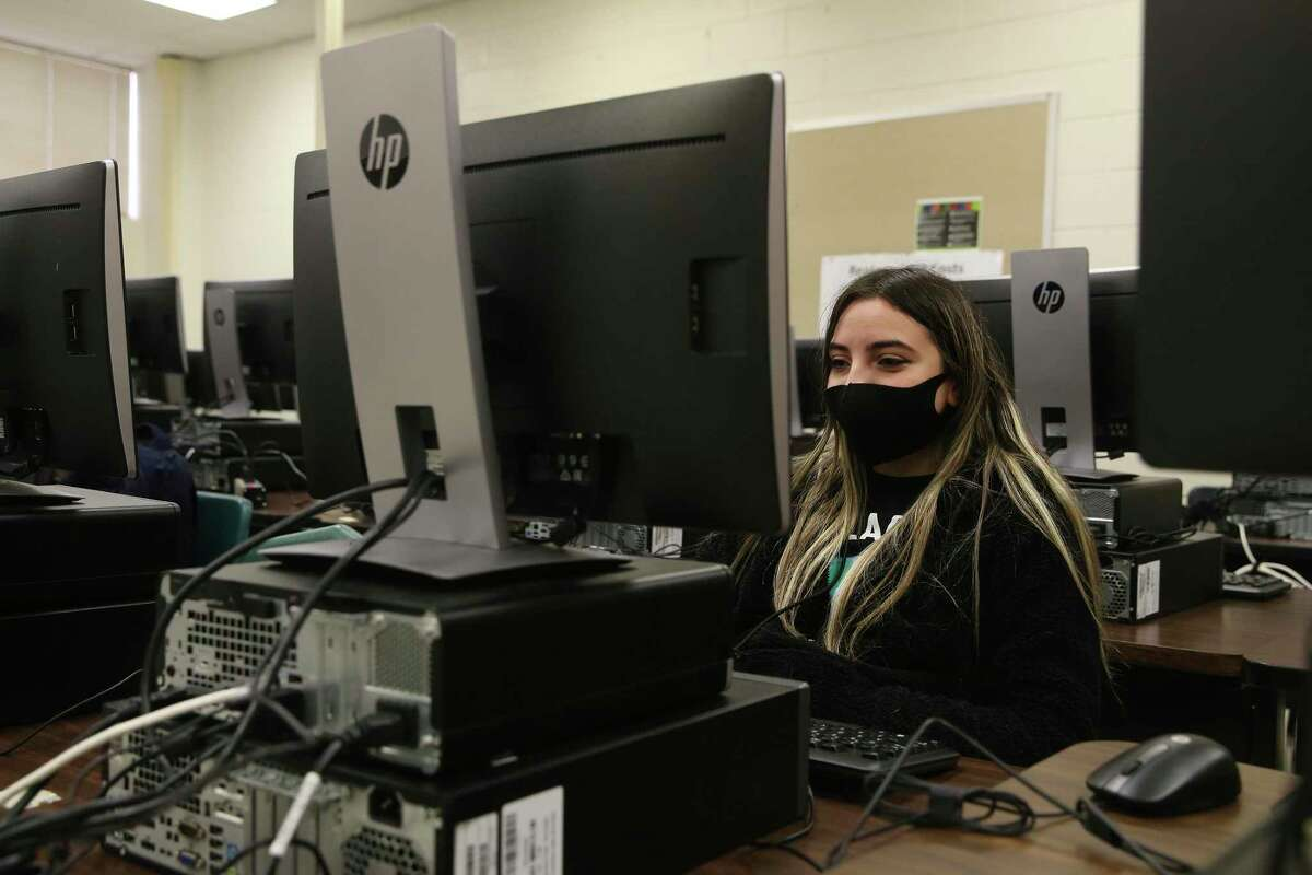Freshman Cynthia Cowles, 15, works on a lesson during a cyber security class at Northside School of Innovation, Technology and Entrepreneurship.