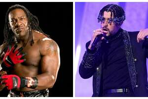 Houston wrestler Booker T. Huffman, left, is the subject of a new Bad Bunny song.