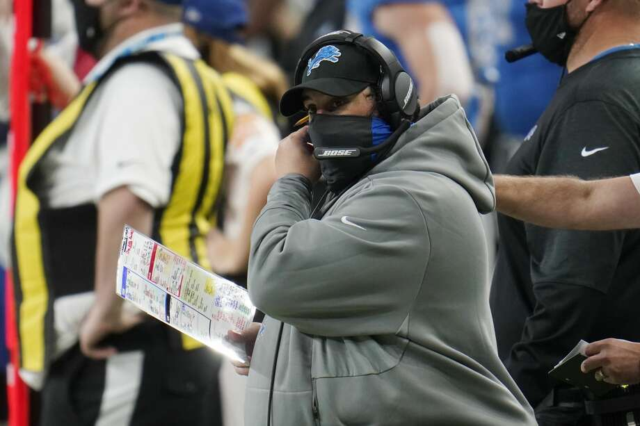 Detroit Lions head coach Matt Patricia adjusts his face mask during the second half of an NFL football game against the Houston Texans, Thursday, Nov. 26, 2020, in Detroit. (AP Photo/Paul Sancya) Photo: Paul Sancya/AP / Copyright 2020 The Associated Press. All rights reserved.