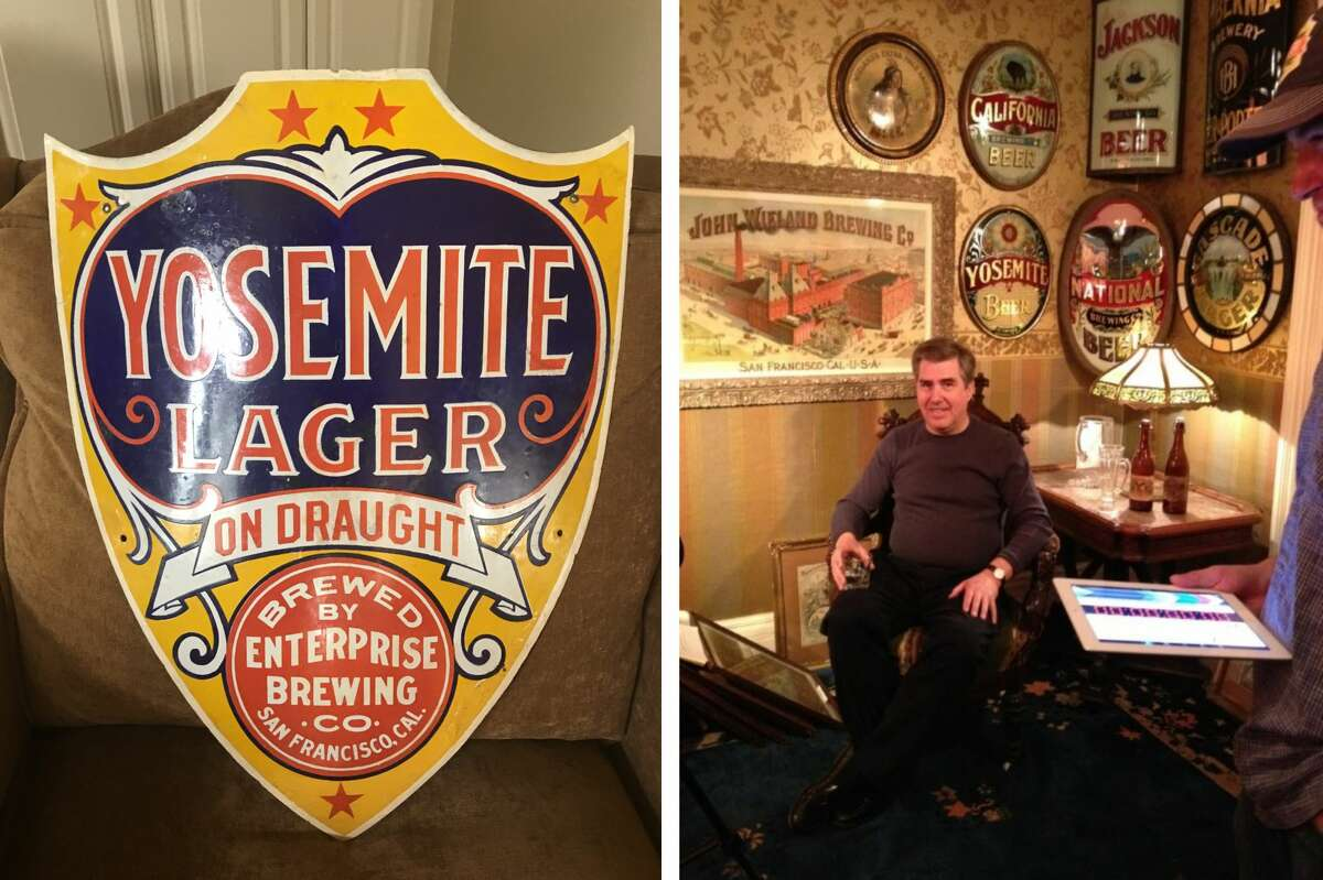 A piece from S.F. beer historian Thomas Jacobs (pictured right in his home office) highlighting Enterprise's signature beer: Yosemite Lager.