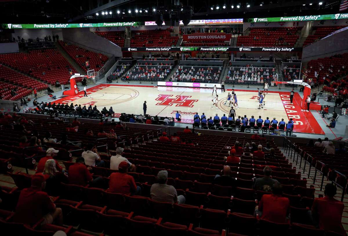 The Houston Cougars play the Boise State Broncos during the first half of an NCAA basketball game Friday, Nov. 27, 2020, at the Fertitta Center in Houston.