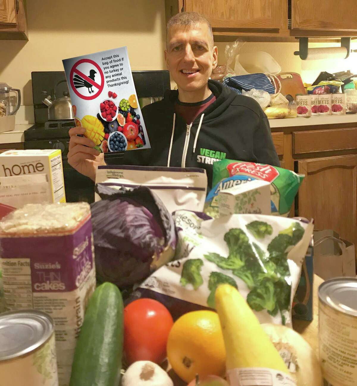 Richard Hubbard of Torrington, a practicing vegan, donated plant-based meals to those in need this Thanksgiving season.