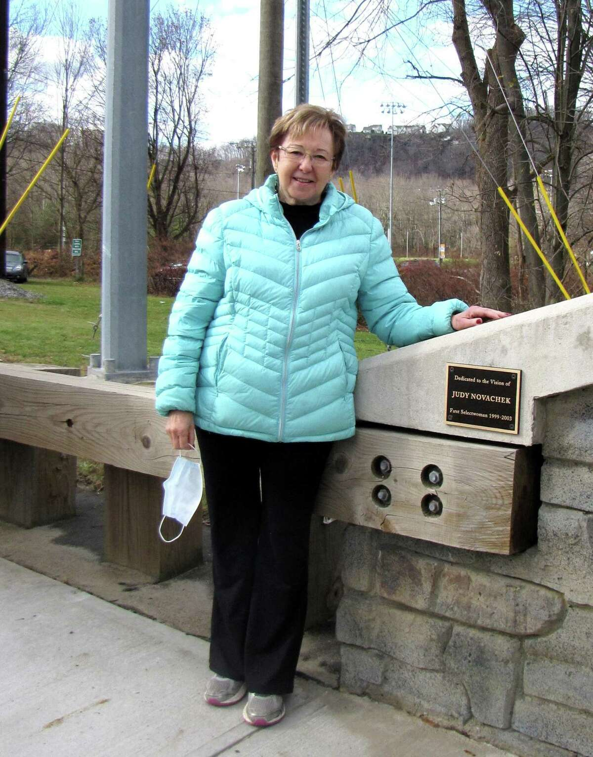 First Selectwoman Judy Novachek was recognized for her efforts to improve an intersection near the schools.