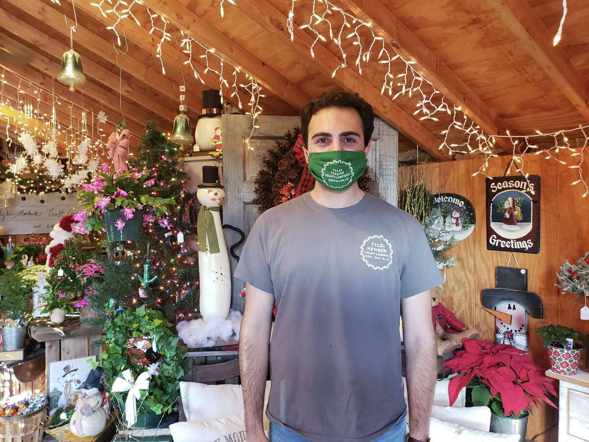 Tyler Newkirk, owner of Tyler Newkirk Craft Co., tried to make his shop even more festive than usual this year.