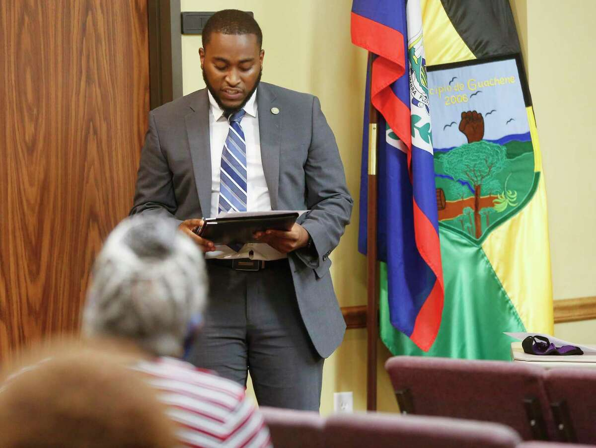 Newly elected Prairie View City Councilman Nathan Alexander III addresses attendees of the meeting before being sworn in on Monday, Nov. 16, 2020. Alexander is one of the youngest Black elected officials in the state of Texas and like Vice President-Elect Kamala Harris, he's a product of an HBCU.