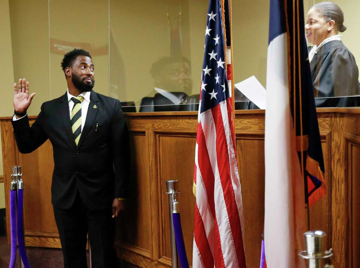 Brian Rowland is sworn in as Prairie View Mayor by Judge Shelytha Alexander-Simmons on Monday, Nov. 16, 2020.
